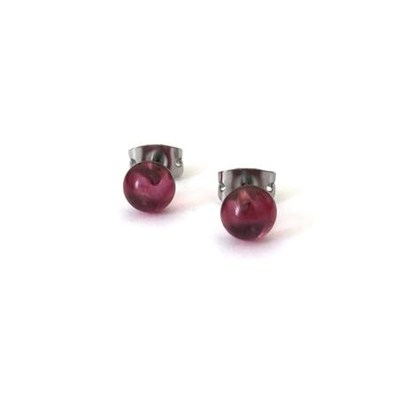Cranberry Glass Stud Earrings