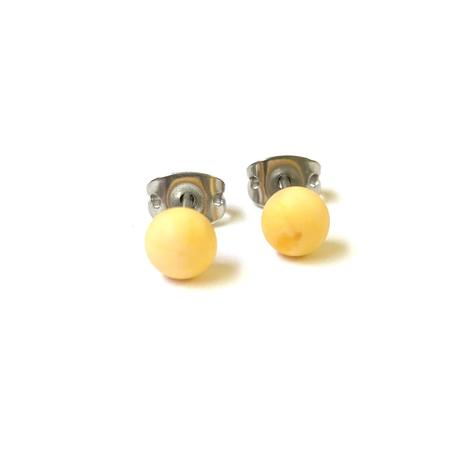Frosted Lemon Glass Stud Earrings
