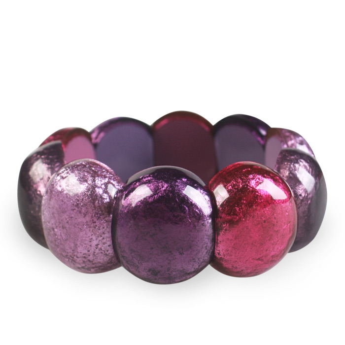 Resin Cabouchon Bangle - Blackberry